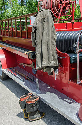 Photograph - 1937  Chevy Fire Engine by Susan  McMenamin