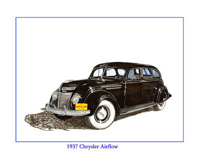 Automotive Drawing - 1937 Chrysler Airflow  by Jack Pumphrey
