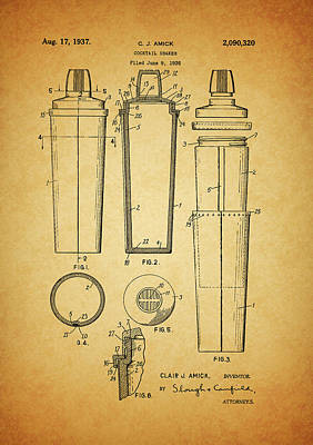 Olive Mixed Media - 1937 Cocktail Shaker Patent by Dan Sproul