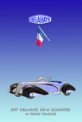 Mixed Media - 1937 Delahae 135 M Roadster by Jack Pumphrey