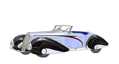 Delahaye Painting - 1937 Delahaye 135 M Roadster by Jack Pumphrey