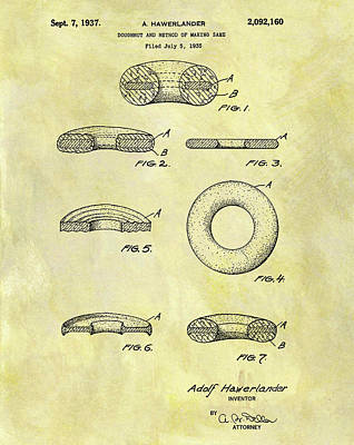 Donuts Mixed Media - 1937 Doughnut Patent by Dan Sproul
