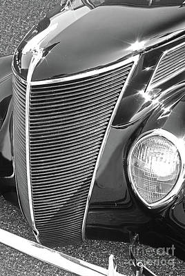 Watercolor Typographic Countries - 1937 Ford 2 Door Sedan black and white by Rich Walter