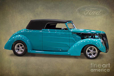 Street Rod Photograph -  Ford Convertible 1937 by J Darrell Hutto