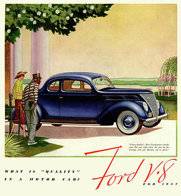 Drawing - 1937 Ford Car Ad by Allen Beilschmidt