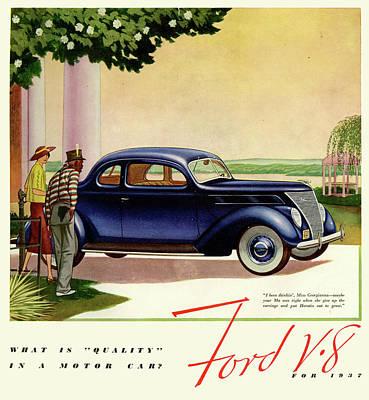 1937 Ford Car Ad Art Print