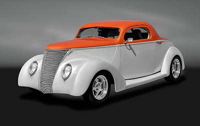 Photograph - 1937 Ford Coupe  -  1937ford3windowgry184097 by Frank J Benz