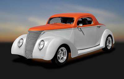 Photograph - 1937 Ford Coupe  -  1937fordthreewindowcoupe184097 by Frank J Benz