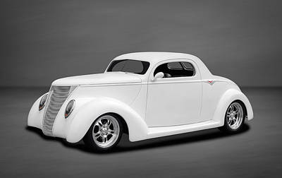 Custom Automobile Photograph - 1937 Ford Coupe In Soft White by Frank J Benz