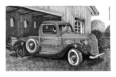 Drawing - 1937 Ford Pick Up Retired by Jack Pumphrey