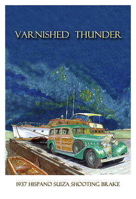 Painting - 1937 Hispano Suiza Shooting Brake by Jack Pumphrey
