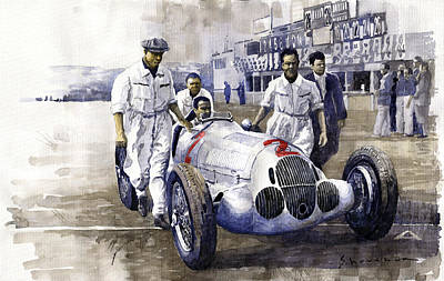 Watercolor Photograph - 1937 Italian Gp Mercedes Benz W125 Rudolf Caracciola by Yuriy Shevchuk