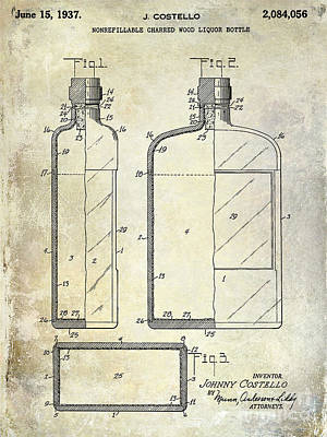 Flasks Photograph - 1937 Liquor Bottle Patent  by Jon Neidert
