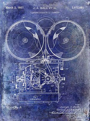 1937 Motion Picture Camera Patent Blue Art Print