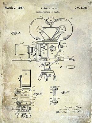 Vintage Camera Photograph - 1937 Movie Camera Patent by Jon Neidert