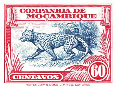 Postage Digital Art - 1937 Mozambique Company Leopard Postage Stamp by Retro Graphics