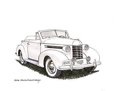 Painting - 1937 Oldsmobile Convertible by Jack Pumphrey