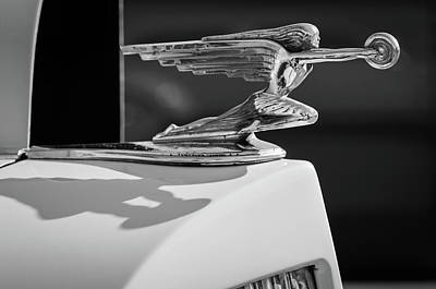 Photograph - 1937 Packard 2-door Touring Hood Ornament -0726bw by Jill Reger