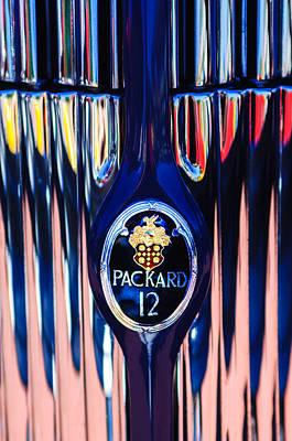 Photograph - 1937 Packard Twelve Convertible Sedan Emblem -0373c by Jill Reger