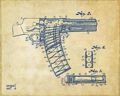 1937 Police Remington Model 8 Magazine Patent Minimal - Vintage Art Print by Nikki Marie Smith