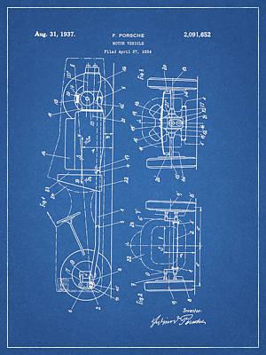 Mixed Media - 1937 Porsche Body Design by Dan Sproul