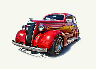 Photograph - 1937 Red Chevy Master Deluxe by Mamie Thornbrue
