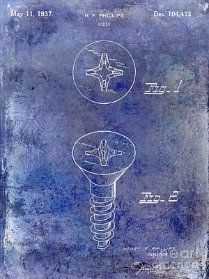 Construction Photograph - 1937 Screw Patent Blue by Jon Neidert