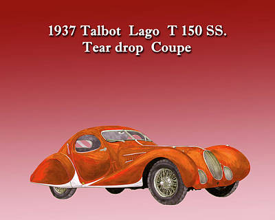 Painting - 1937 Talbot Lago Teardrop Coupe by Jack Pumphrey