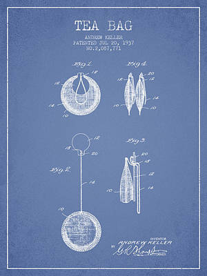 1937 Tea Bag Patent 02 - Light Blue Art Print by Aged Pixel