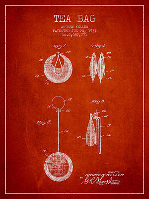 1937 Tea Bag Patent 02 - Red Art Print by Aged Pixel
