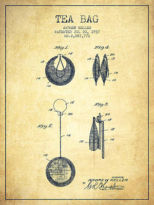 1937 Tea Bag Patent 02 - Vintage Art Print by Aged Pixel