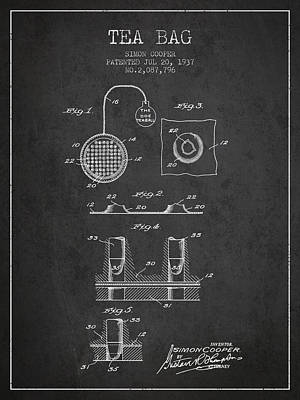 House Drawing - 1937 Tea Bag Patent - Charcoal by Aged Pixel