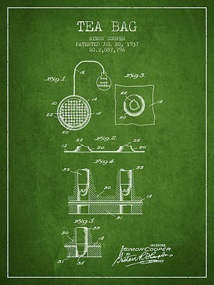 House Drawing - 1937 Tea Bag Patent - Green by Aged Pixel