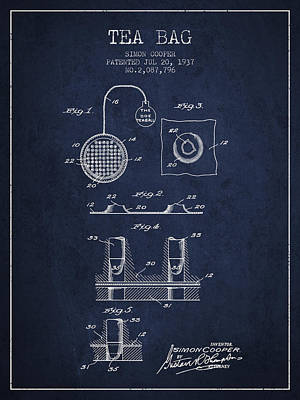 House Drawing - 1937 Tea Bag Patent - Navy Blue by Aged Pixel