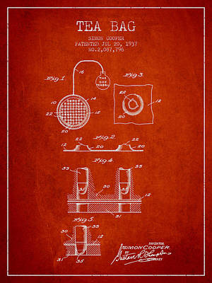 House Drawing - 1937 Tea Bag Patent - Red by Aged Pixel