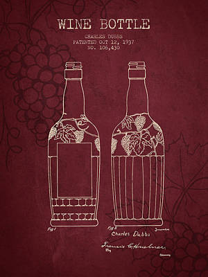 1937 Wine Bottle Patent - Red Wine Art Print by Aged Pixel