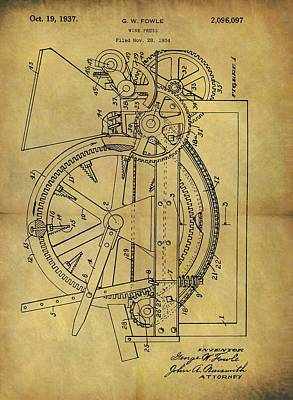 Grape Drawing - 1937 Wine Press Patent by Dan Sproul