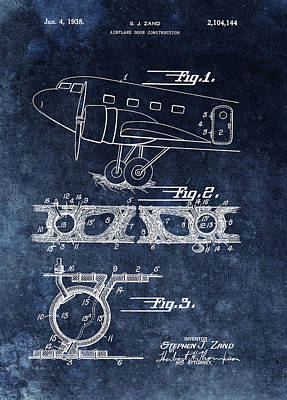 Old Door Mixed Media - 1938 Airplane Door Patent by Dan Sproul