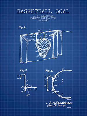 1938 Basketball Goal Patent - Blueprint Art Print