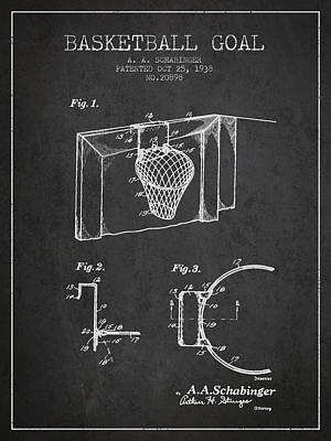 Technical Digital Art - 1938 Basketball Goal Patent - Charcoal by Aged Pixel