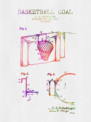 1938 Basketball Goal Patent - Color Art Print