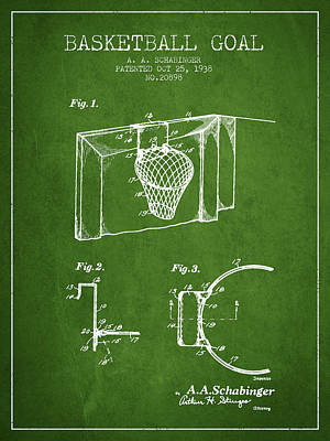 Slam Drawing - 1938 Basketball Goal Patent - Green by Aged Pixel