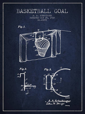 Basket Ball Drawing - 1938 Basketball Goal Patent - Navy Blue by Aged Pixel