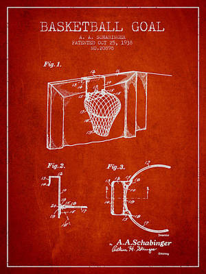 1938 Basketball Goal Patent - Red Art Print by Aged Pixel