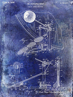Bass Drum Photograph - 1938 Bass Drum Pedal Patent Blue by Jon Neidert