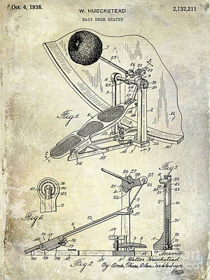 Bass Drum Photograph - 1938 Bass Drum Pedal Patent  by Jon Neidert
