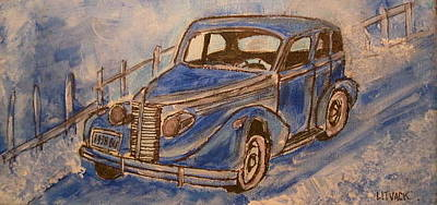 Litvack Painting - 1938 Blue Buick by Michael Litvack
