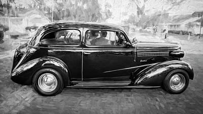 1938 Chevrolet 2 Door Sedan Deluxe C121 Bw Art Print