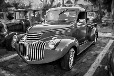 Pickup Truck Door Photograph - 1938 Chevrolet Pick Up Truck Painted Bw by Rich Franco