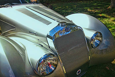 Photograph - 1938 Delage D8 - 120 Aerodynamic Coupe Front Grill by Allen Beatty